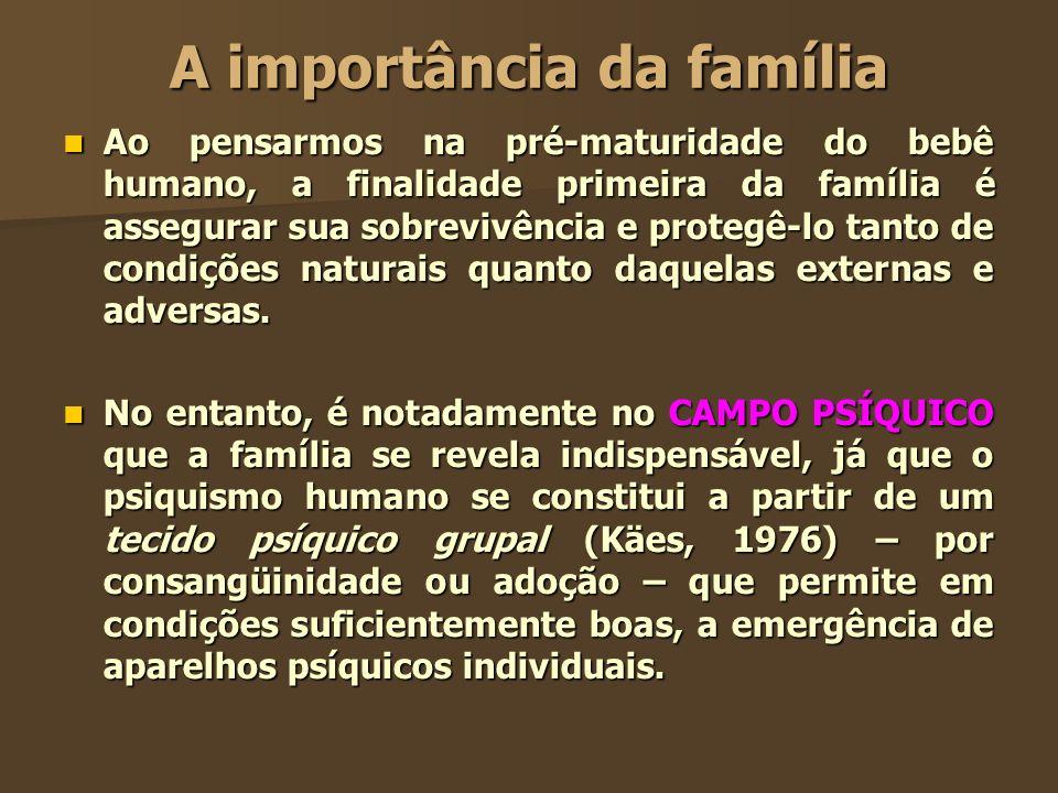 A importância da família Ao pensarmos na pré-maturidade do bebê humano, a finalidade primeira da família é assegurar sua sobrevivência e protegê-lo ta