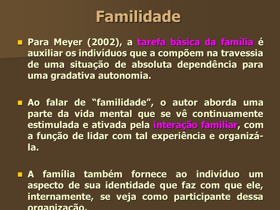 Familidade Para Meyer (2002), a tarefa básica da família é auxiliar os indivíduos que a compõem na travessia de uma situação de absoluta dependência p