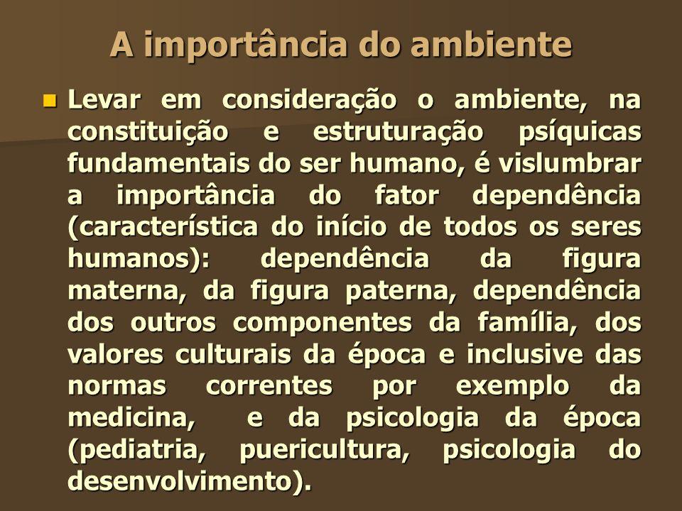 A importância do ambiente Levar em consideração o ambiente, na constituição e estruturação psíquicas fundamentais do ser humano, é vislumbrar a import