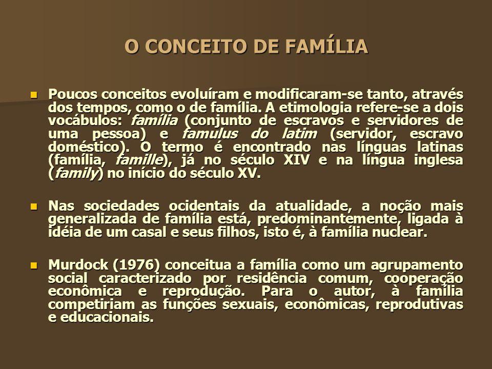 O CONCEITO DE FAMÍLIA Poucos conceitos evoluíram e modificaram-se tanto, através dos tempos, como o de família. A etimologia refere-se a dois vocábulo