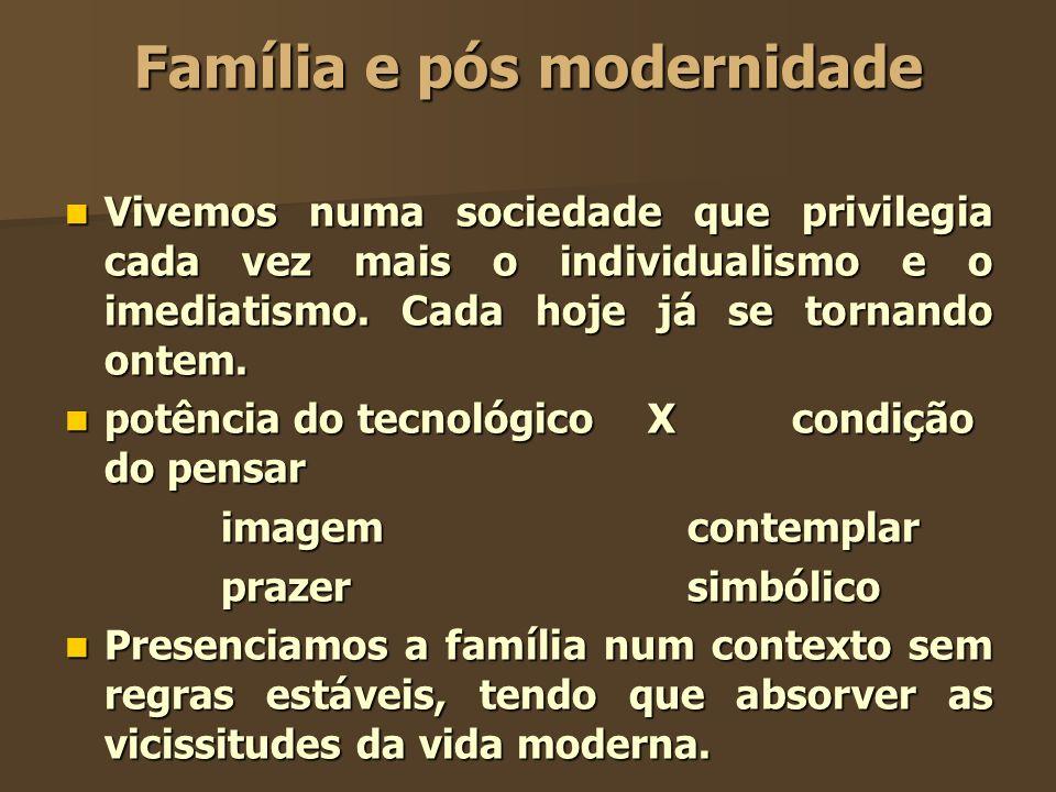 Família e pós modernidade Vivemos numa sociedade que privilegia cada vez mais o individualismo e o imediatismo. Cada hoje já se tornando ontem. Vivemo