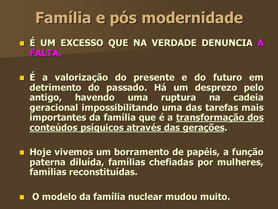 Família e pós modernidade É UM EXCESSO QUE NA VERDADE DENUNCIA A FALTA. É UM EXCESSO QUE NA VERDADE DENUNCIA A FALTA. É a valorização do presente e do