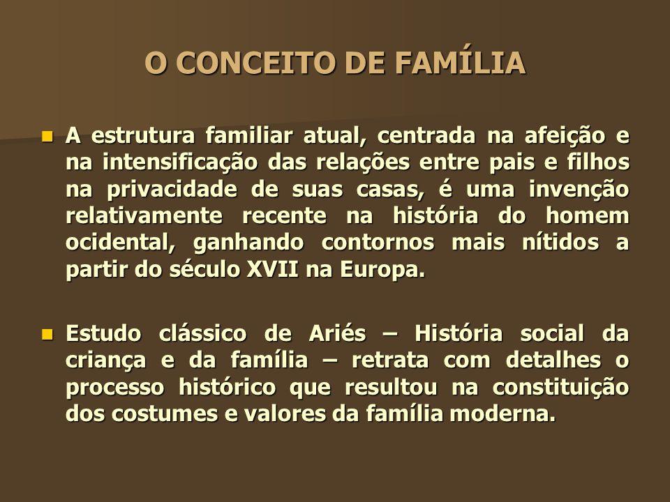 O CONCEITO DE FAMÍLIA A estrutura familiar atual, centrada na afeição e na intensificação das relações entre pais e filhos na privacidade de suas casa