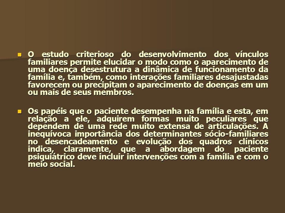 O estudo criterioso do desenvolvimento dos vínculos familiares permite elucidar o modo como o aparecimento de uma doença desestrutura a dinâmica de fu