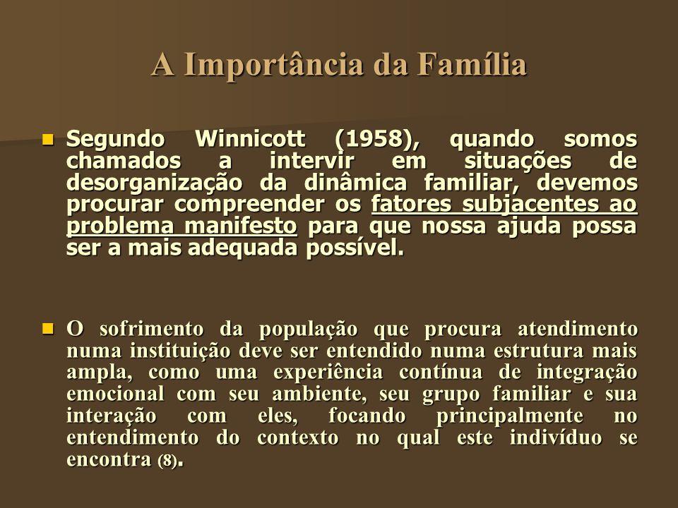 A Importância da Família Segundo Winnicott (1958), quando somos chamados a intervir em situações de desorganização da dinâmica familiar, devemos procu