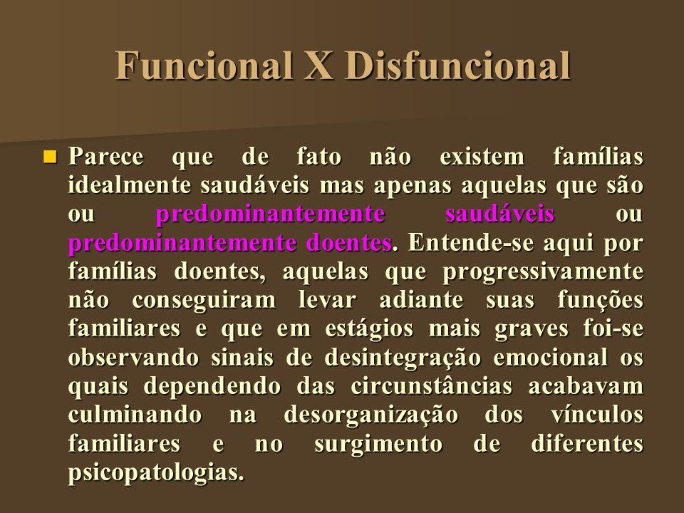 Funcional X Disfuncional Parece que de fato não existem famílias idealmente saudáveis mas apenas aquelas que são ou predominantemente saudáveis ou pre