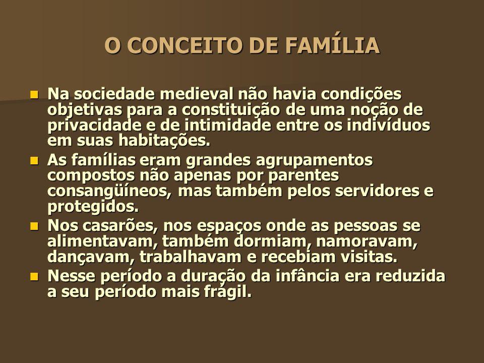 O CONCEITO DE FAMÍLIA A passagem da família medieval para a moderna implicou numa lenta e insidiosa construção de um novo sentimento de família.