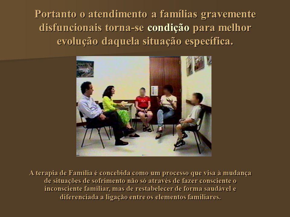 Portanto o atendimento a famílias gravemente disfuncionais torna-se condição para melhor evolução daquela situação específica. A terapia de Família é