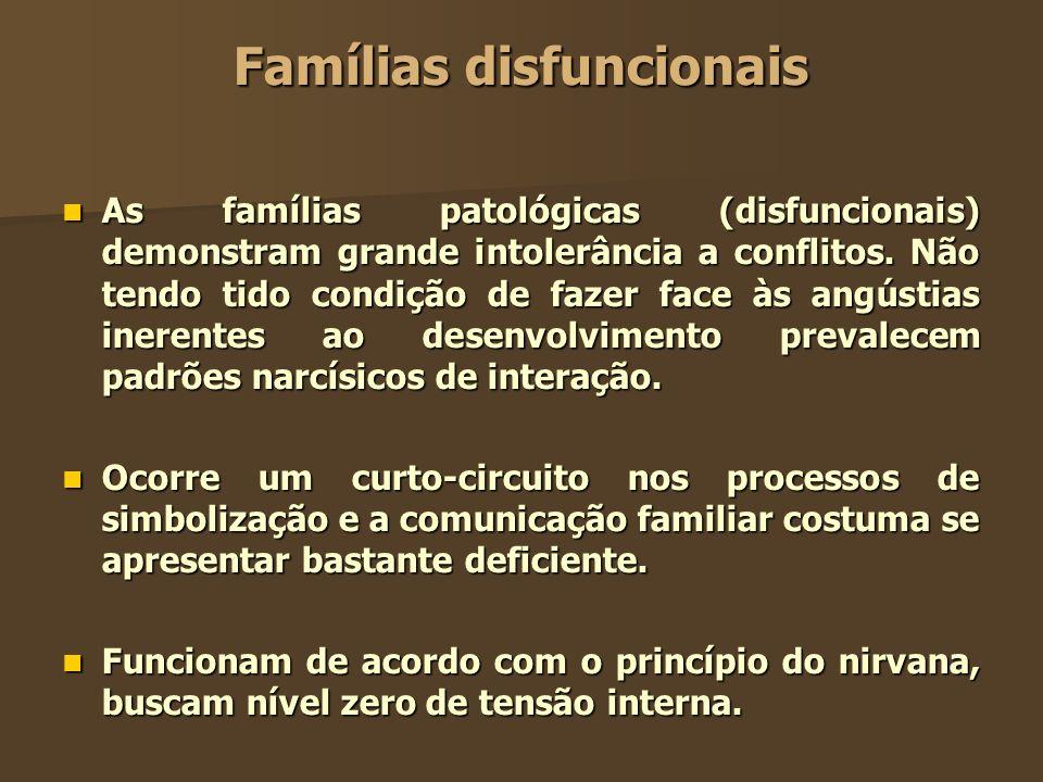 Famílias disfuncionais As famílias patológicas (disfuncionais) demonstram grande intolerância a conflitos. Não tendo tido condição de fazer face às an