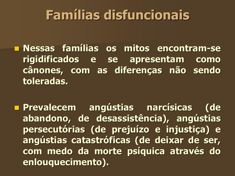 Famílias disfuncionais Nessas famílias os mitos encontram-se rigidificados e se apresentam como cânones, com as diferenças não sendo toleradas. Nessas