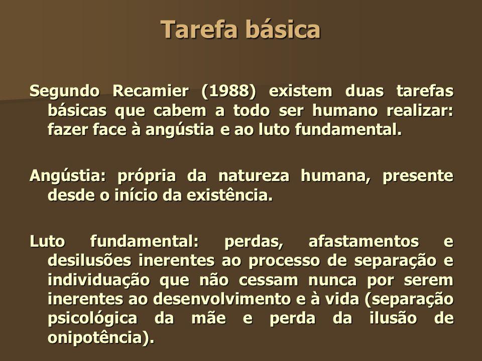 Tarefa básica Segundo Recamier (1988) existem duas tarefas básicas que cabem a todo ser humano realizar: fazer face à angústia e ao luto fundamental.