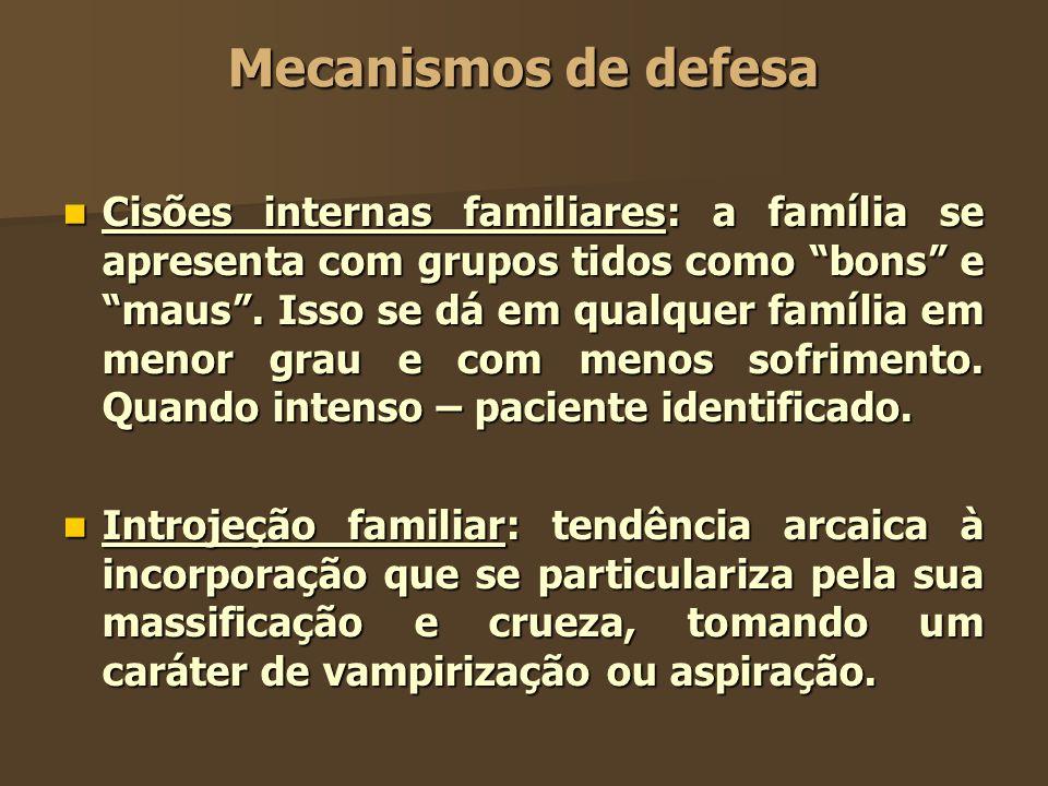 Mecanismos de defesa Cisões internas familiares: a família se apresenta com grupos tidos como bons e maus. Isso se dá em qualquer família em menor gra