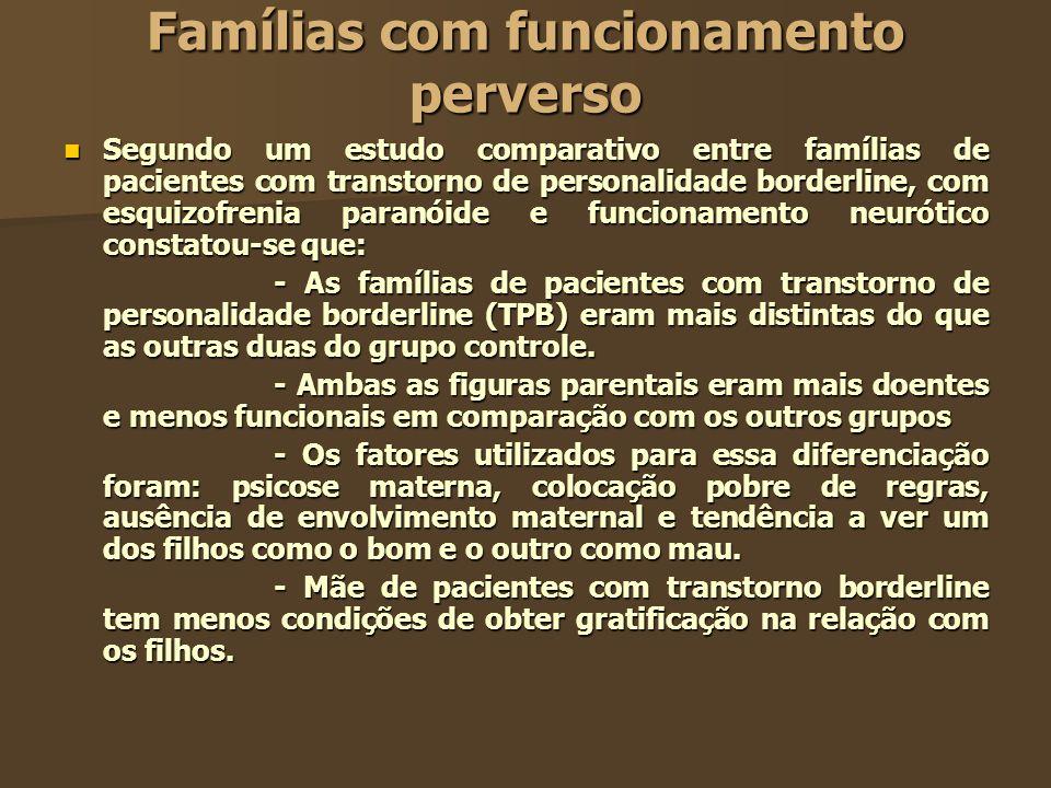 Famílias com funcionamento perverso Segundo um estudo comparativo entre famílias de pacientes com transtorno de personalidade borderline, com esquizof