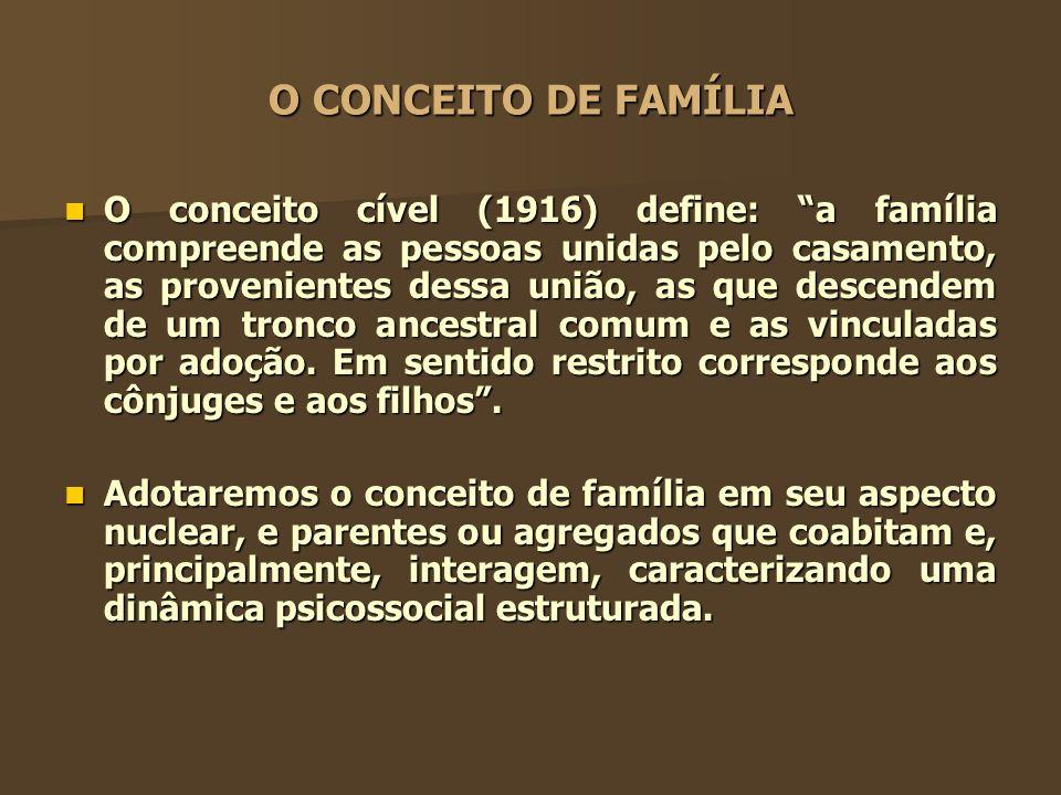 O CONCEITO DE FAMÍLIA O conceito cível (1916) define: a família compreende as pessoas unidas pelo casamento, as provenientes dessa união, as que desce