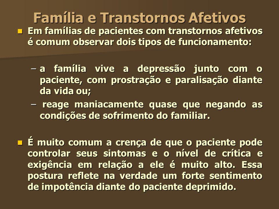 Família e Transtornos Afetivos Em famílias de pacientes com transtornos afetivos é comum observar dois tipos de funcionamento: Em famílias de paciente