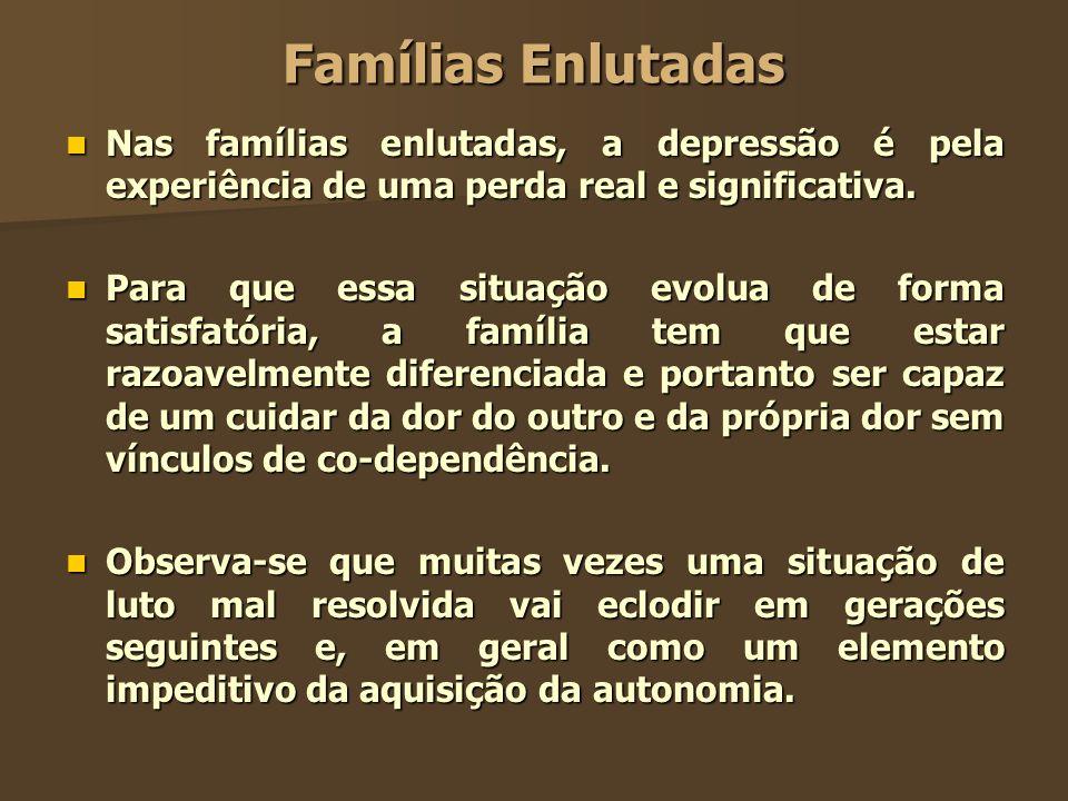 Famílias Enlutadas Nas famílias enlutadas, a depressão é pela experiência de uma perda real e significativa. Nas famílias enlutadas, a depressão é pel