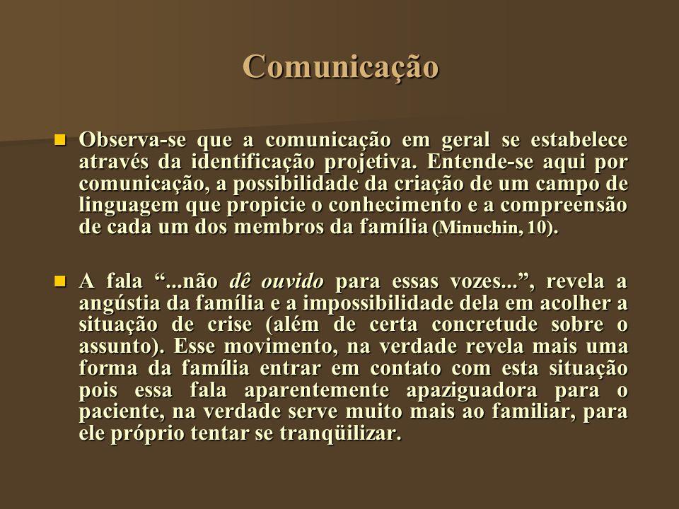Comunicação Observa-se que a comunicação em geral se estabelece através da identificação projetiva. Entende-se aqui por comunicação, a possibilidade d