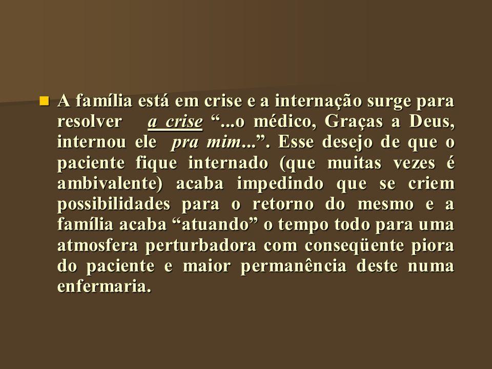 A família está em crise e a internação surge para resolver a crise...o médico, Graças a Deus, internou ele pra mim.... Esse desejo de que o paciente f