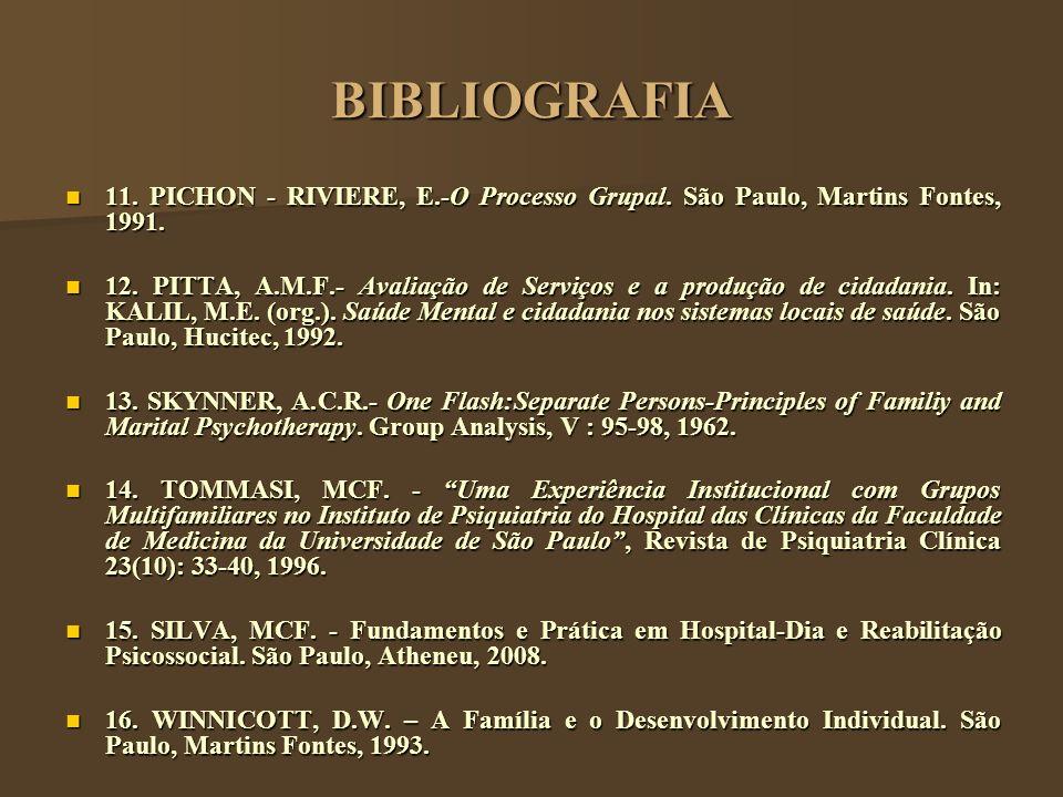 BIBLIOGRAFIA 11. PICHON - RIVIERE, E.-O Processo Grupal. São Paulo, Martins Fontes, 1991. 11. PICHON - RIVIERE, E.-O Processo Grupal. São Paulo, Marti