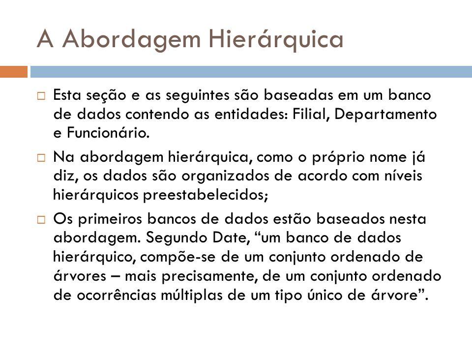 A Abordagem Hierárquica Na abordagem hierárquica, podemos ver o banco de dados como um único arquivo organizado em níveis.