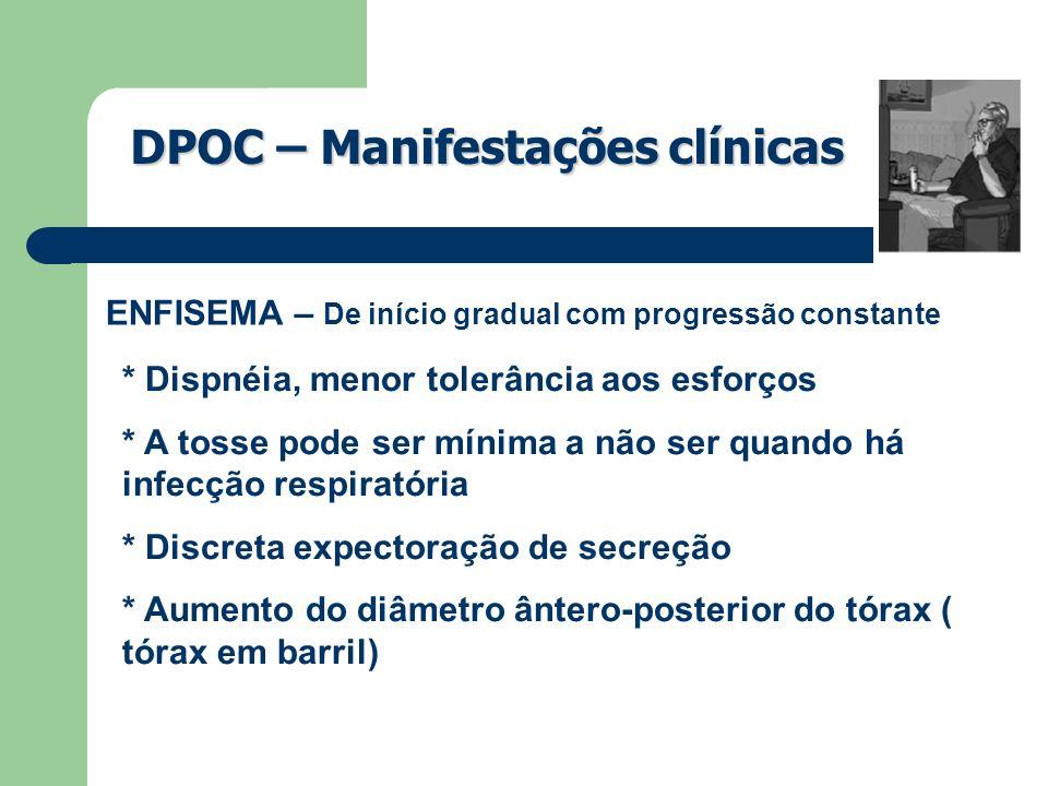 DPOC – Manifestações clínicas ENFISEMA – De início gradual com progressão constante * Dispnéia, menor tolerância aos esforços * A tosse pode ser mínim
