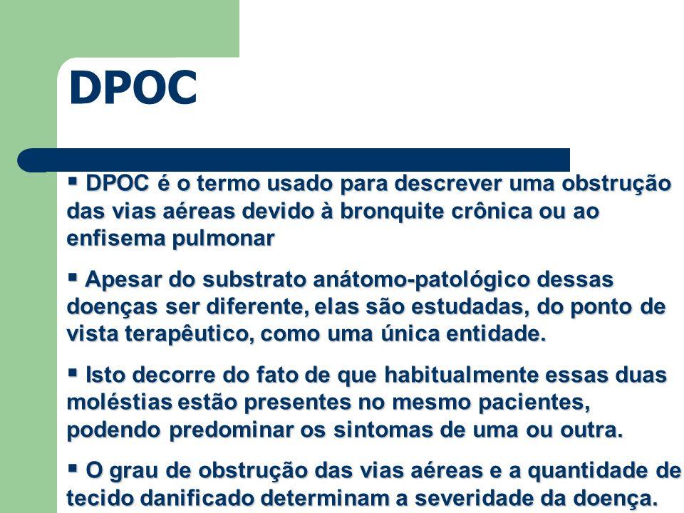 DPOC é o termo usado para descrever uma obstrução das vias aéreas devido à bronquite crônica ou ao enfisema pulmonar DPOC é o termo usado para descrev