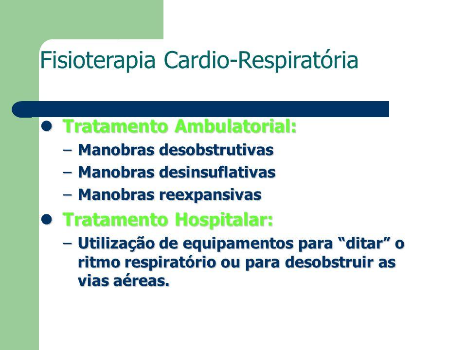 Fisioterapia Cardio-Respiratória Tratamento Ambulatorial: Tratamento Ambulatorial: –Manobras desobstrutivas –Manobras desinsuflativas –Manobras reexpa
