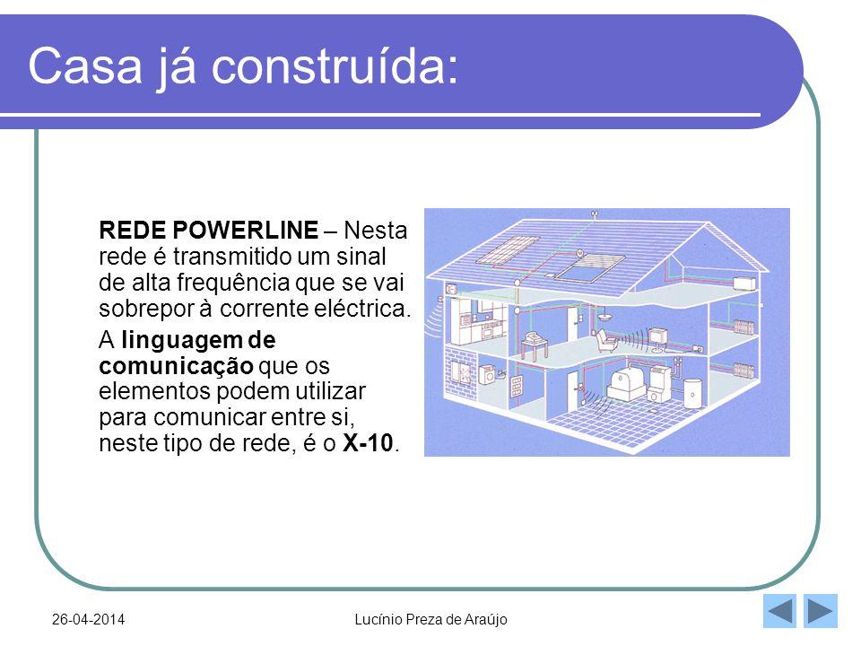 26-04-2014Lucínio Preza de Araújo Casa já construída: REDE POWERLINE – Nesta rede é transmitido um sinal de alta frequência que se vai sobrepor à corrente eléctrica.