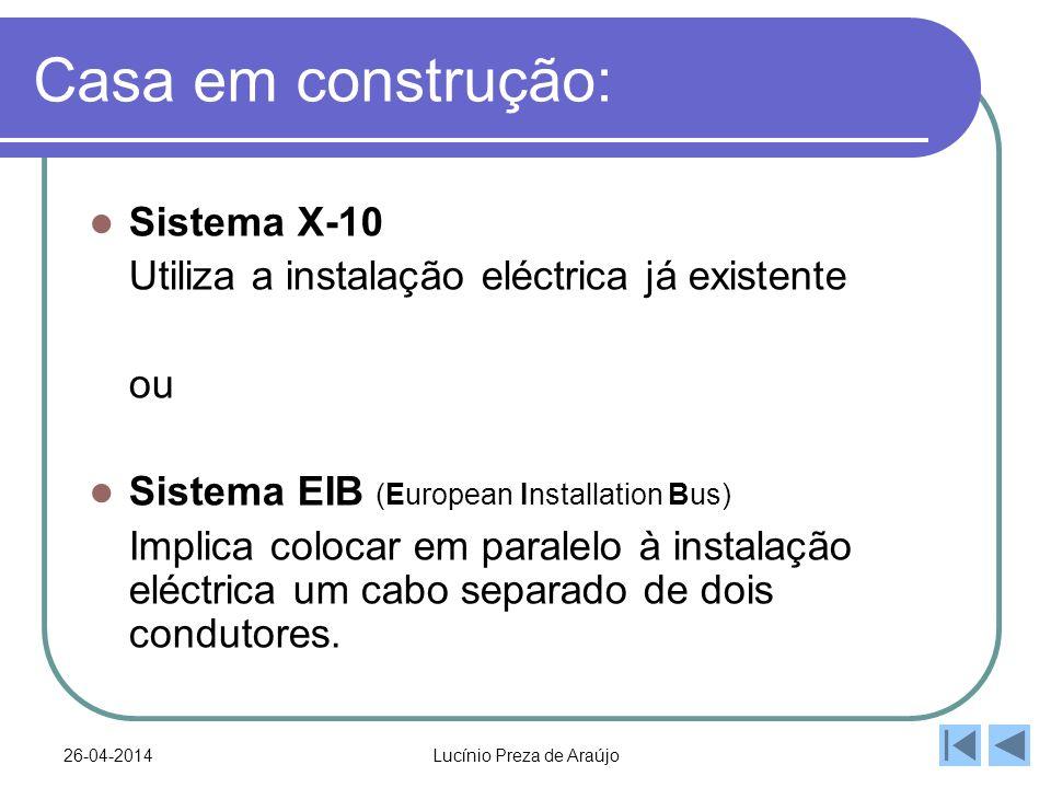26-04-2014Lucínio Preza de Araújo Casa em construção: Sistema X-10 Utiliza a instalação eléctrica já existente ou Sistema EIB (European Installation Bus) Implica colocar em paralelo à instalação eléctrica um cabo separado de dois condutores.