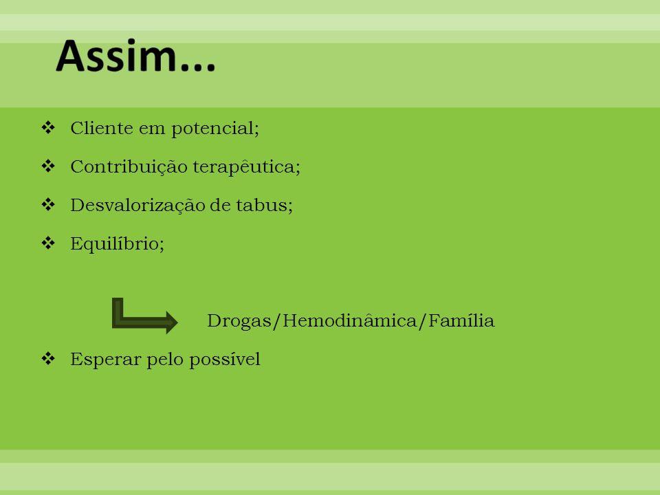 Cliente em potencial; Contribuição terapêutica; Desvalorização de tabus; Equilíbrio; Drogas/Hemodinâmica/Família Esperar pelo possível