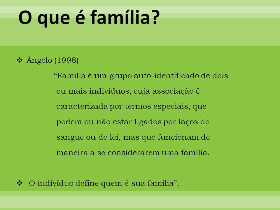 Ângelo (1998) Família é um grupo auto-identificado de dois ou mais indivíduos, cuja associação é caracterizada por termos especiais, que podem ou não