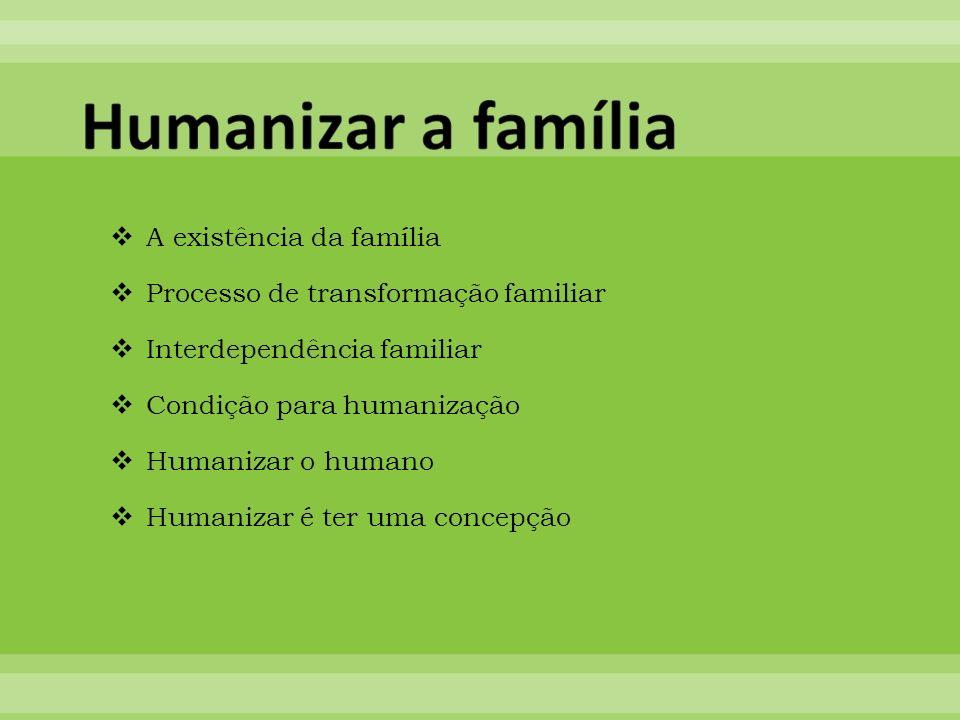 A existência da família Processo de transformação familiar Interdependência familiar Condição para humanização Humanizar o humano Humanizar é ter uma