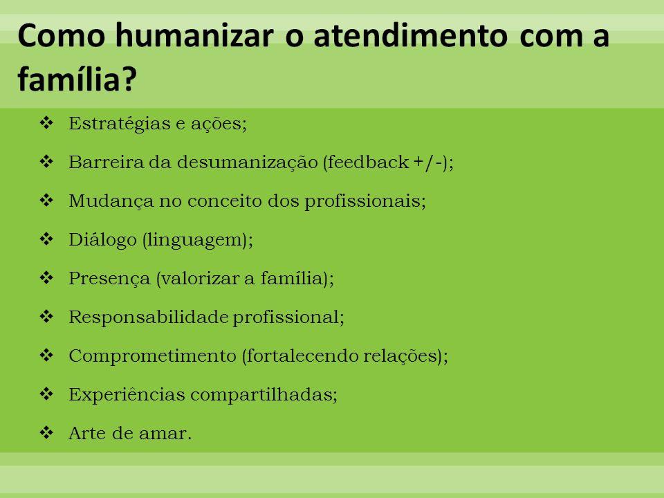 Estratégias e ações; Barreira da desumanização (feedback +/-); Mudança no conceito dos profissionais; Diálogo (linguagem); Presença (valorizar a famíl