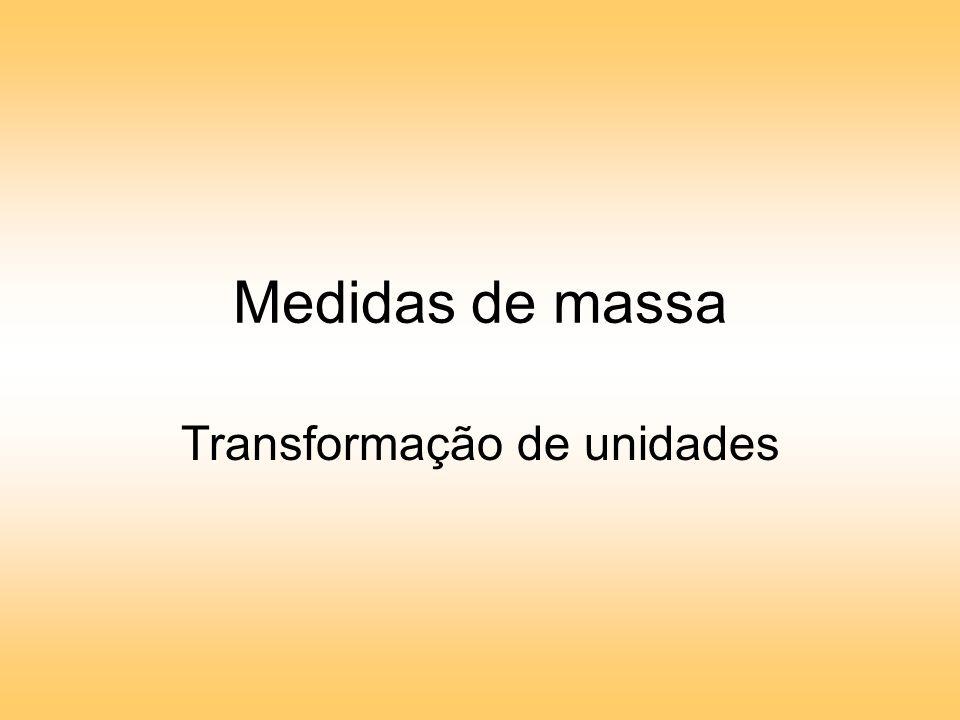 Medidas de massa Transformação de unidades