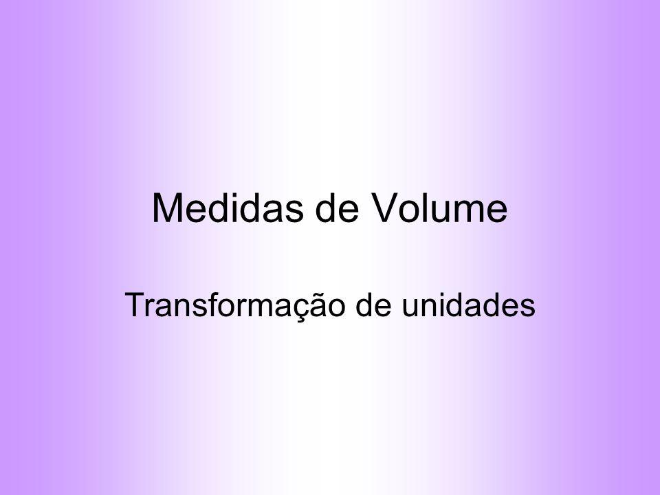 Medidas de Volume Transformação de unidades