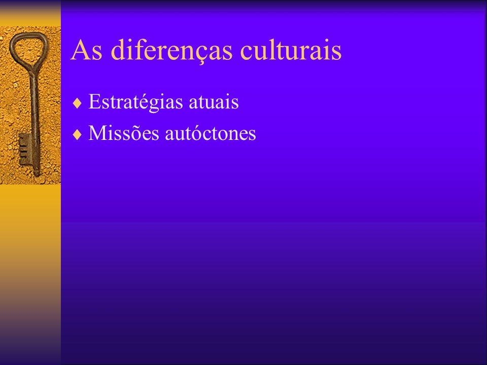 As diferenças culturais Estratégias atuais Missões autóctones