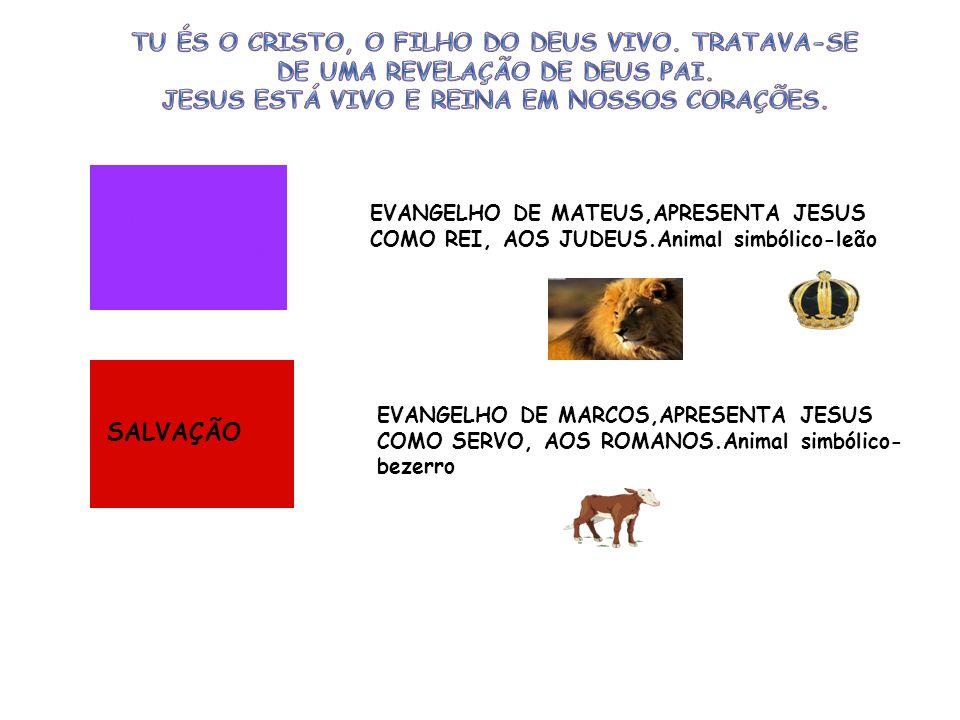 EVANGELHO DE MATEUS,APRESENTA JESUS COMO REI, AOS JUDEUS.Animal simbólico-leão EVANGELHO DE MARCOS,APRESENTA JESUS COMO SERVO, AOS ROMANOS.Animal simb