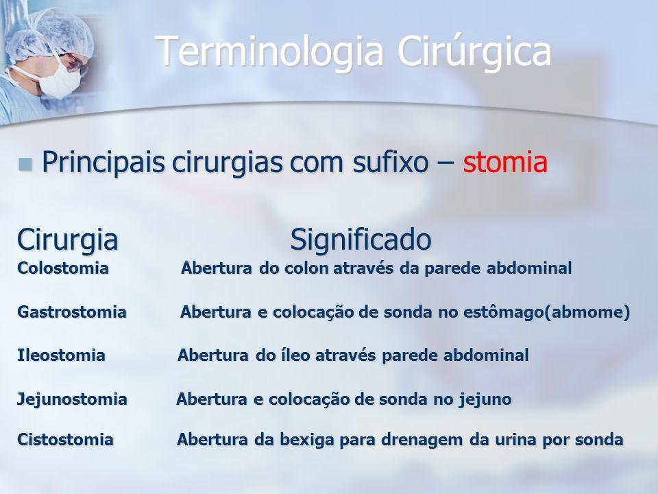 Terminologia Cirúrgica Principais cirurgias com sufixo – stomia Principais cirurgias com sufixo – stomia Cirurgia Significado Colostomia Abertura do c