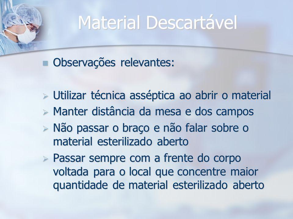 Material Descartável Observações relevantes: Observações relevantes: Utilizar técnica asséptica ao abrir o material Utilizar técnica asséptica ao abri