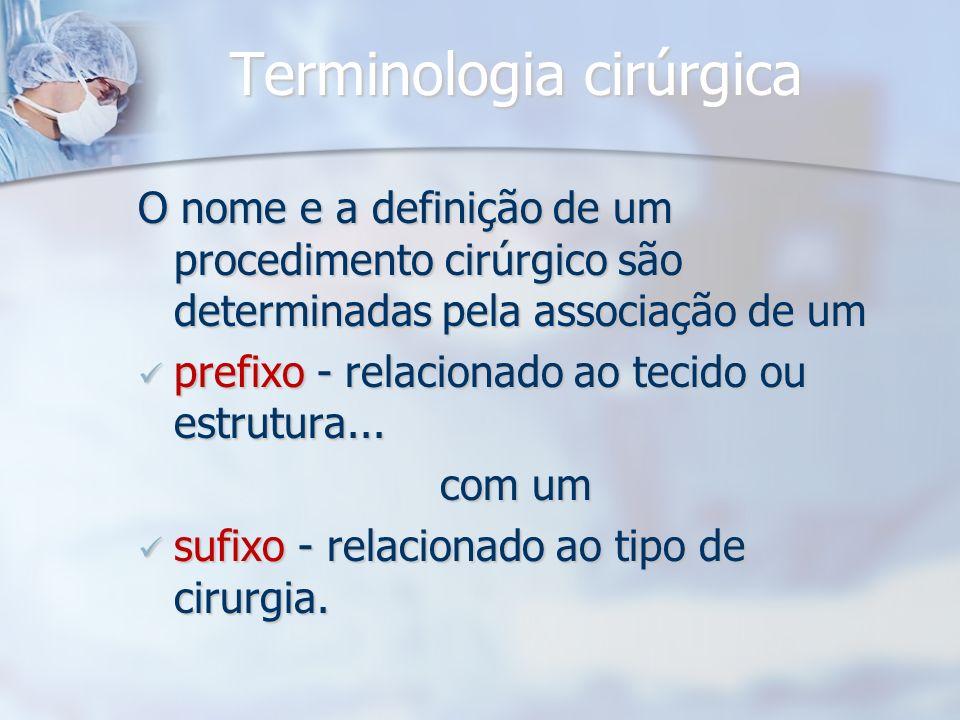 Terminologia cirúrgica O nome e a definição de um procedimento cirúrgico são determinadas pela associação de um prefixo - relacionado ao tecido ou est