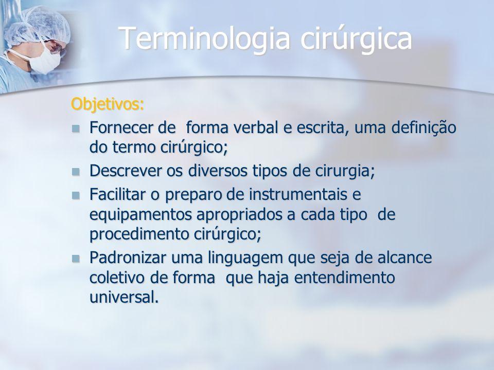 Terminologia cirúrgica Objetivos: Fornecer de forma verbal e escrita, uma definição do termo cirúrgico; Fornecer de forma verbal e escrita, uma defini