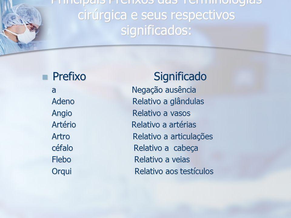 Principais Prefixos das Terminologias cirúrgica e seus respectivos significados: Prefixo Significado Prefixo Significado a Negação ausência a Negação