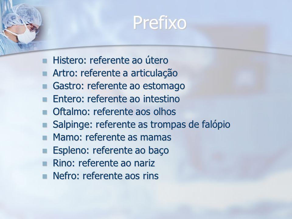 Prefixo Prefixo Histero: referente ao útero Histero: referente ao útero Artro: referente a articulação Artro: referente a articulação Gastro: referent