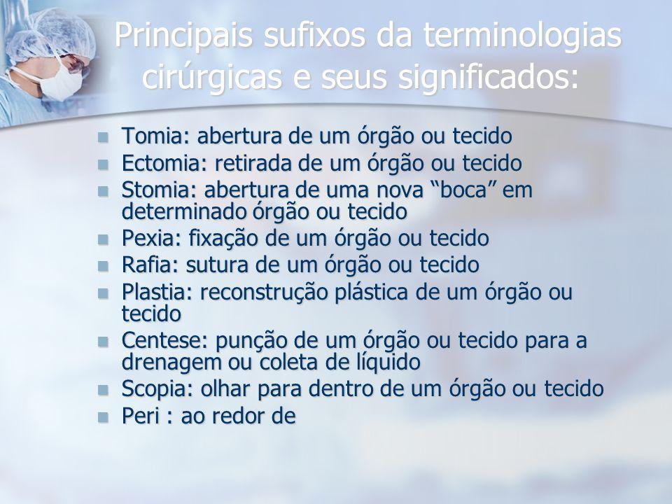 Principais sufixos da terminologias cirúrgicas e seus significados: Principais sufixos da terminologias cirúrgicas e seus significados: Tomia: abertur