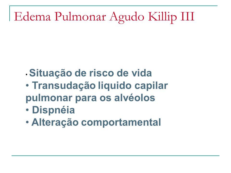 Edema Pulmonar Agudo Killip III Situação de risco de vida Transudação liquido capilar pulmonar para os alvéolos Dispnéia Alteração comportamental