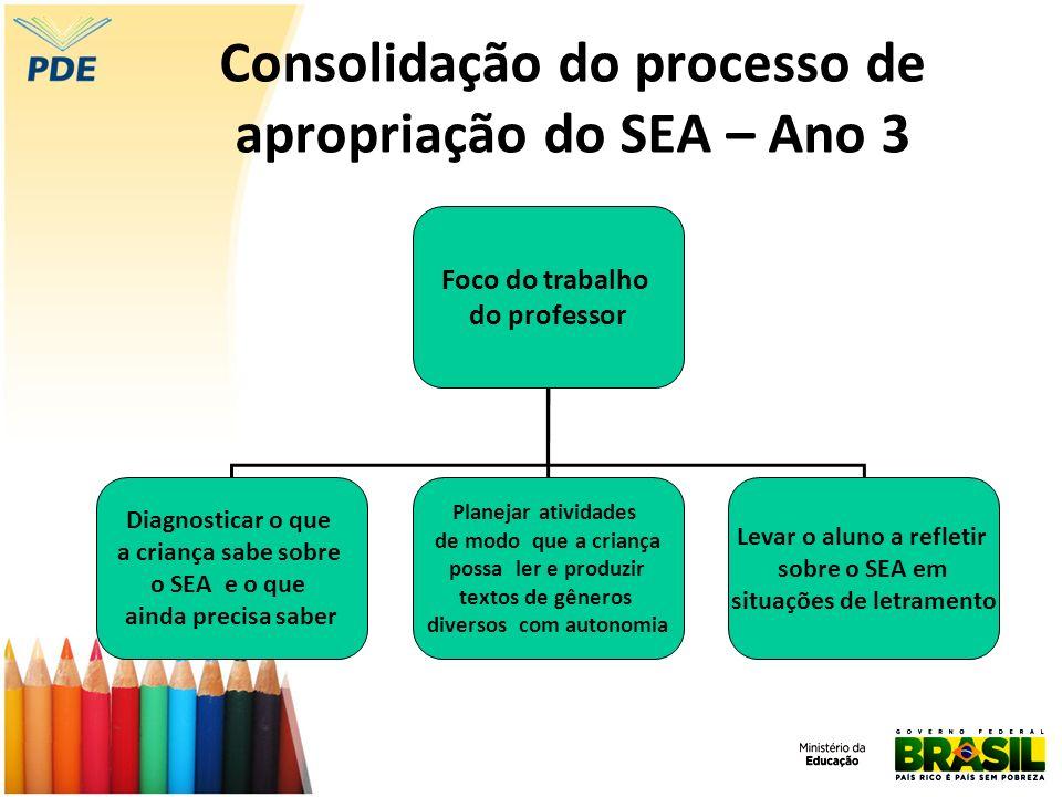 Consolidação do processo de apropriação do SEA – Ano 3 Foco do trabalho do professor Diagnosticar o que a criança sabe sobre o SEA e o que ainda preci