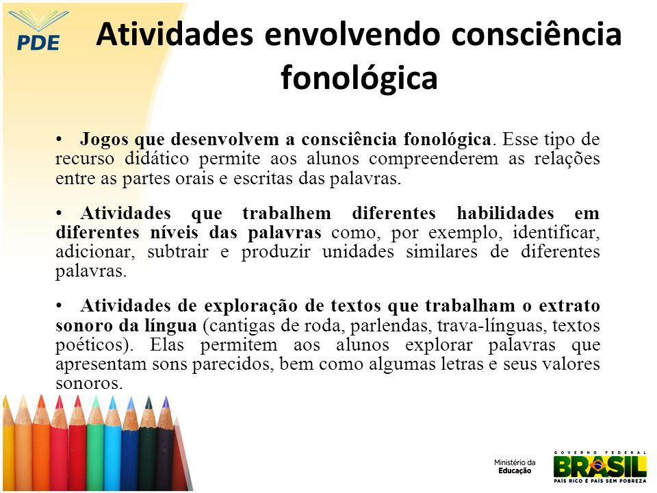 Atividades envolvendo consciência fonológica Jogos que desenvolvem a consciência fonológica. Esse tipo de recurso didático permite aos alunos compreen