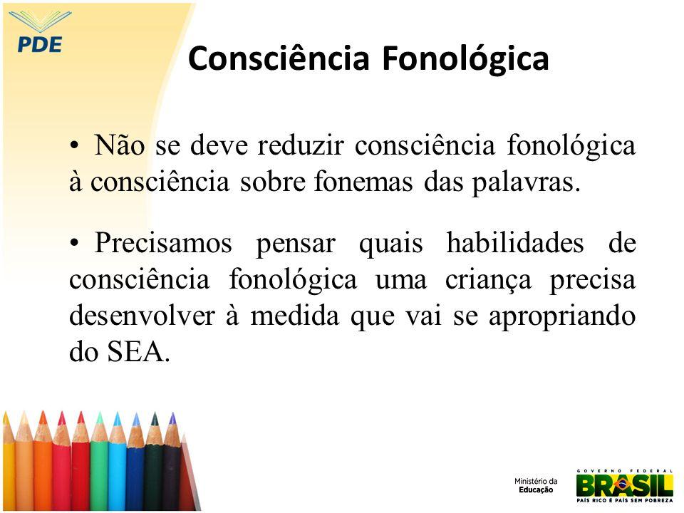 Não se deve reduzir consciência fonológica à consciência sobre fonemas das palavras. Precisamos pensar quais habilidades de consciência fonológica uma