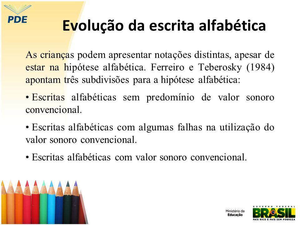 Evolução da escrita alfabética As crianças podem apresentar notações distintas, apesar de estar na hipótese alfabética. Ferreiro e Teberosky (1984) ap