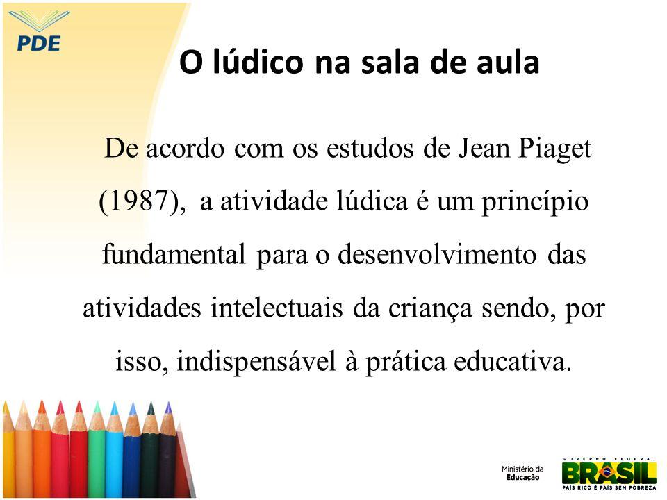 O lúdico na sala de aula De acordo com os estudos de Jean Piaget (1987), a atividade lúdica é um princípio fundamental para o desenvolvimento das ativ